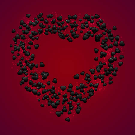 Happy Valentine Day banner. Vector creative wreath made of little black heart shapes on dark red background with sparkles and copy space. Heart shape frame.
