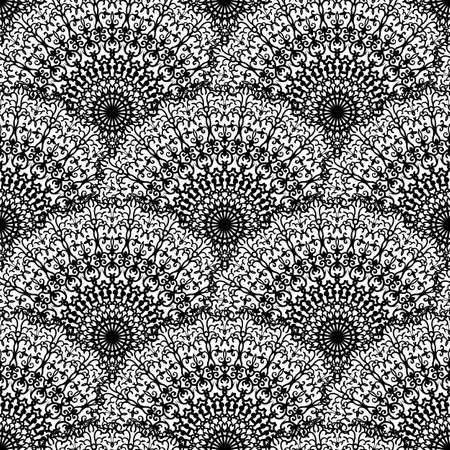 Abstract seamless vector lace pattern. Black and white repeating wallpaper with creative mandalas. Beautiful background with abstract floral scales. Stock Illustratie