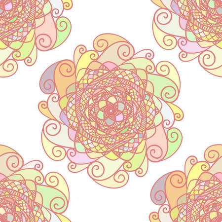 Seamless abstract vector pattern made of colorful mandalas. Pink and white romantic background. Texture design for surface, fabric, textile. Abstract repeating wallpaper with waves and curls. Çizim