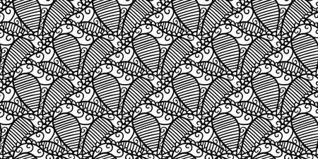 Abstract seamless vector lace pattern. Black and white repeating wallpaper with creative mandalas. Beautiful background with abstract floral elements. Stock Illustratie