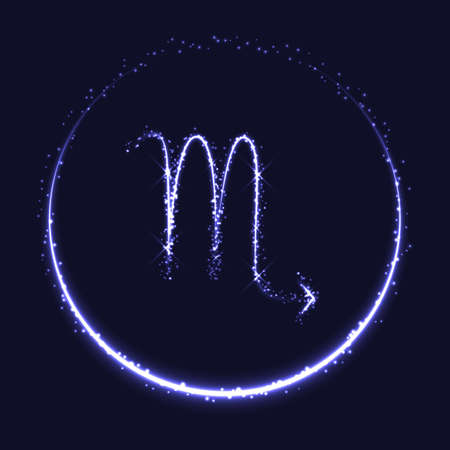 Astrological symbol of Scorpio. Abstract vector shiny western Zodiac Horoscope sign and crescent moon on dark blue background. Çizim