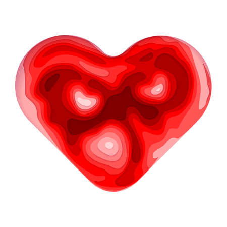 Vector abstract paper cut background. Modern and trendy illustration of colorful red heart shape made of 3D layers and isolated on white background. Valentine Day card template.