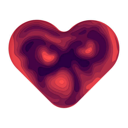 Vector abstract paper cut background. Modern and trendy illustration of colorful heart shape made of 3D layers and isolated on white background. Valentine Day card template.