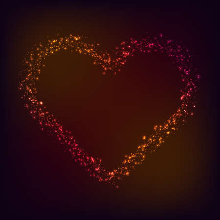 Vector Valentine day card. Shiny and glowing heart shape on dark red and pink background. Love symbol. Stock Illustratie