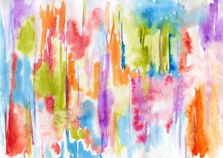 Abstract watercolor background with colorful paint stains and drops in rainbow colors. Hand drawn traditional illustration. Creative liquid wallpaper. Abstraction image.