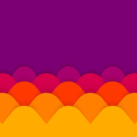 Vector abstract geometric paper cut background with copy space in violet, purple, yellow and orange colors. Modern and trendy vector illustration with 3d paper layers. Bright and colorful abstraction.