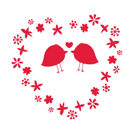 Beautiful romantic vector illustration with couple of birds in love and flower wreath for Valentine Day designs. Red hand drawn floral silhouette elements isolated on white background. Cute card.
