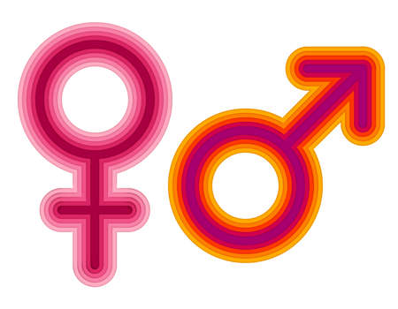 Vector astrological signs of Venus and Mars in modern and trendy paper cut style with 3d realistic effect isolated on white background. Illustration of female and male symbols.