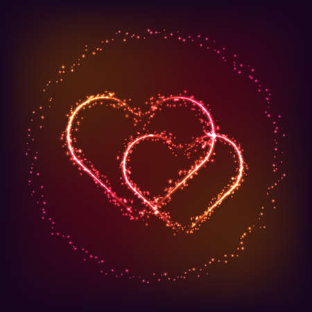 Vector Valentine day card. Two shiny and glowing heart shapes in sparkles ring on dark red and pink background. Love symbol.