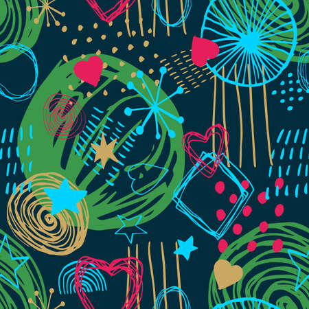 Beautiful vector seamless pattern in simple scandinavian style in neon colors on dark backdrop. Abstract hand drawn ink shapes. Repeating wallpaper. Trendy background design. Stock Illustratie