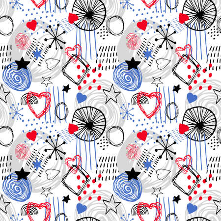 Beautiful vector seamless pattern in simple scandinavian style in black, blue, red and white colors. Abstract hand drawn ink shapes. Repeating wallpaper. Trendy background design.