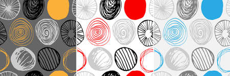 Beautiful vector set of three seamless patterns in simple scandinavian style. Abstract hand drawn round shapes. Repeating wallpapers. Trendy background design. Stock Illustratie