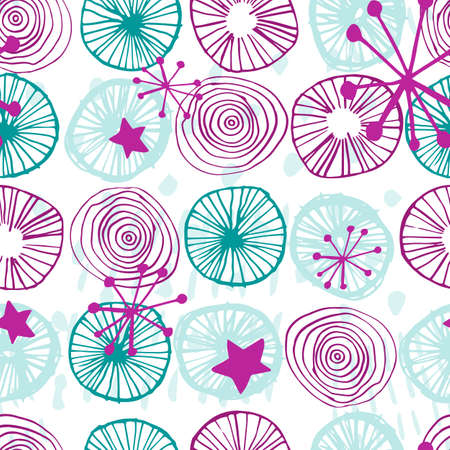 Beautiful vector seamless pattern in simple scandinavian style. Abstract hand drawn round and star shapes in pink and teal blue colors on white. Repeating wallpaper. Trendy background design. Stock Illustratie