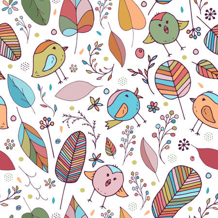Cute and colorful vector seamless background for kids room, fabric, textile. Beautiful floral elements, leaves, flowers and funny birds in rainbow colors on white background. Nice children pattern. Stock Illustratie