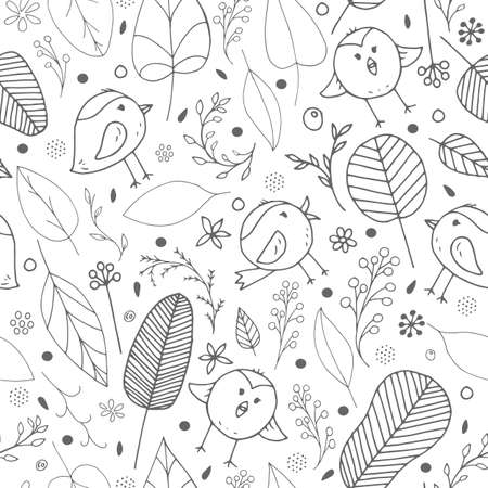 Cute vector seamless colorless background for kids room, fabric, textile. Beautiful floral doodle elements, leaves, flowers and funny birds on white background. Nice monochrome children pattern.