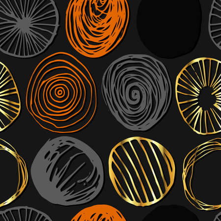 Grunge vector seamless pattern. Abstract hand drawn round shapes in orange, gold and gray colors on dark background. Repeating wallpaper. Trendy texture design.