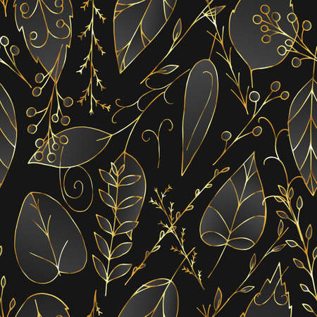Black and gold vector seamless pattern with leaves and berries in art deco style. Repeating floral wallpaper. Illustration with abstract plants. Texture design for surface, fabric, textile.