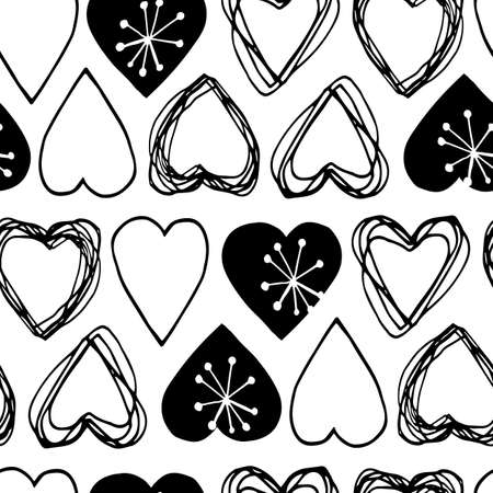 Beautiful vector seamless pattern in simple scandinavian style for Valentine day. Abstract hand drawn ink heart shapes on white background. Trendy wallpaper design for fabric and textile.