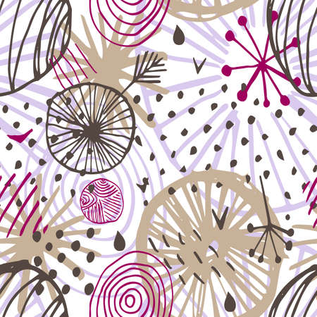 Beautiful vector seamless pattern in simple scandinavian style in purple, pink, brown colors on white background. Abstract hand drawn ink shapes. Repeating wallpaper. Trendy background design.