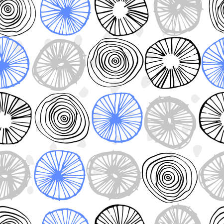Beautiful vector seamless pattern in simple scandinavian style. Abstract hand drawn round shapes. Repeating wallpaper. Trendy background design. Stock Illustratie