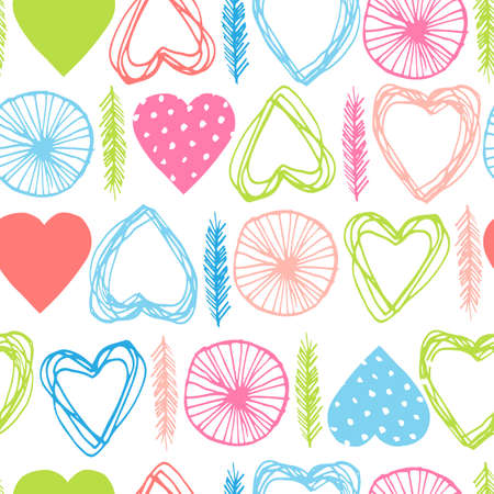 Colorful vector seamless pattern with abstract hand drawn hearts and feathers in cute spring colors on white background. Pink, green and blue shapes. Trendy wallpaper design for fabric and textile.