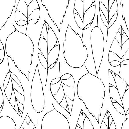 Vector doodle seamless pattern with black colorless leaves on white background. Repeating wallpaper. Hand drawn illustration with abstract leaves. Texture design for surface, fabric and textile. Stock Illustratie