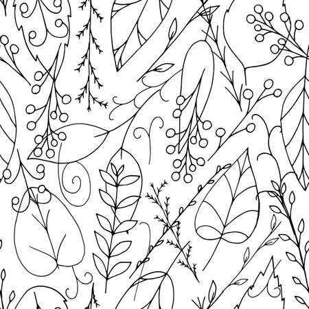 Black vector doodle seamless pattern with leaves and berries on white background. Repeating wallpaper. Hand drawn illustration with abstract plants. Texture design for surface, fabric, textile.