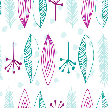 Beautiful vector seamless pattern in simple scandinavian style. Abstract hand drawn feather shapes in pink and teal blue colors on white. Repeating wallpaper. Trendy background design.