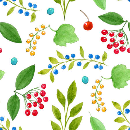 Beautiful floral seamless pattern with hand drawn watercolor berries and leaves on white background. Blueberry, white currant, elder berries, cherry and leaves illustration. Repeating background.