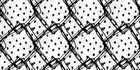 Abstract vector seamless pattern in black, gray, white colors. Grunge memphis background. Hand drawn elements. Texture design for surface, fabric, textile, paper wrapping. Stock Illustratie