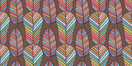 Beautiful vector seamless pattern made of colorful feathers and leaves in rainbow colors. Repeating texture in boho style. Hippie design for surfaces, fabric, textile, paper wrappings. Stock Illustratie