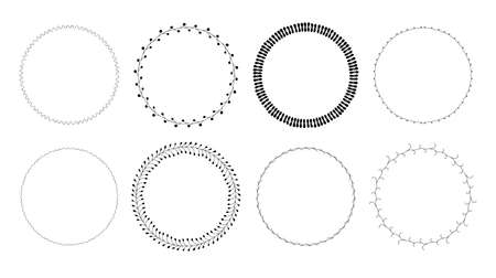 Vector set of hand drawn beautiful round floral frames in black color isolated on white background. Romantic decoration elements for wedding invitations, gift cards, banners. Cute botanical wreaths. Stock Illustratie