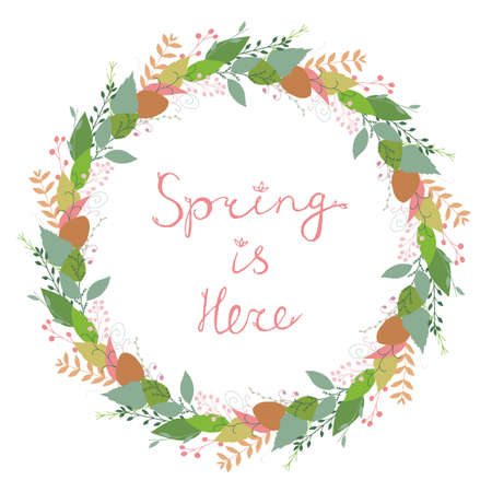 Beautiful vector floral spring wreath in gentle colors isolated on white background. Spring Is Here lettering. Botanical round garland. Flower circle frame. Cute abstract hand drawn flowers & leaves.