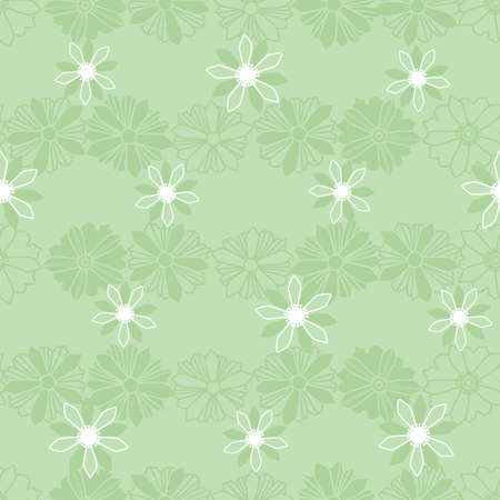 Pastel green abstract ornamental flowers vector seamless pattern, great for textile, stationery, wallpaper, packaging, home and garden decor.