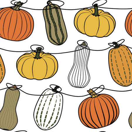 Colorful vector pumpkins seamless pattern print background