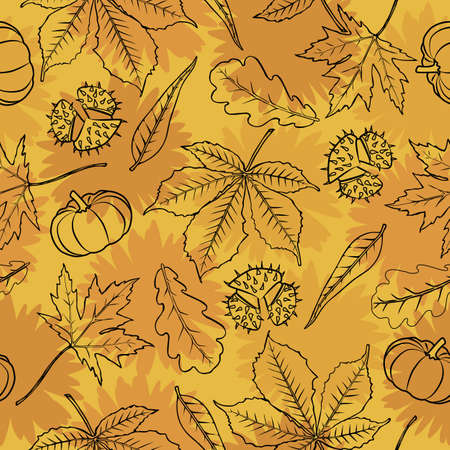Golden color autumn theme seamless pattern background Ilustração