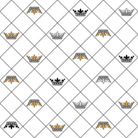 Golden vector chess king crown seamless pattern Ilustracja