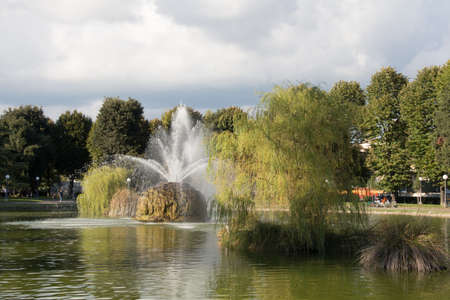 fortezza: The view of fountain in the garden of Fortezza da Basso. Florence. Italy.