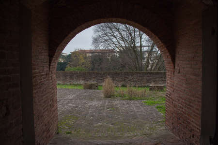 strengthening: Italy, Pistoia - November 27 2016: the view from the tunnel of Medici Fortress of Santa Barbara on November 27 2016 in Pistoia, Tuscany, Italy.