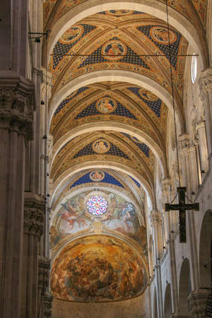 saint martin: Italy, Lucca - September 18 2016: the view of the ceiling on the interior of Lucca Cathedral. Cattedrale di San Martino on September 18 2016 in Lucca, Tuscany, Italy.