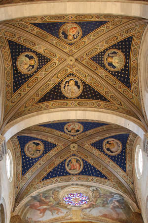 Italy, Lucca - September 18 2016: the view of the ceiling on the interior of Lucca Cathedral. Cattedrale di San Martino on September 18 2016 in Lucca, Tuscany, Italy.