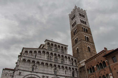 Italy, Lucca - September 18 2016: the view of the fragment of Lucca Cathedral, Cattedrale di San Martino on September 18 2016 in Lucca, Tuscany, Italy.