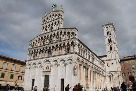 Italy, Lucca - September 18 2016: the view of San Michele in Foro, medieval church on September 18 2016 in Lucca, Tuscany, Italy.