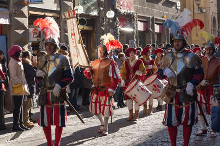 Italy, Florence - January 6 2017: the view of the tradition parade of Epiphany Befana, medieval festival in Florence on 6 January 2017, Florence, Tuscany, Italy.