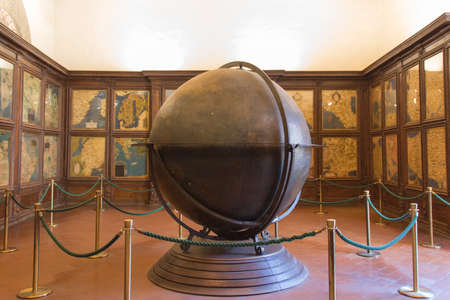 Italy, Florence - May 18 2017: the view of the globe in the Hall of geographical maps in Palazzo Vecchio on May 18 2017 in Florence, Italy. Editorial