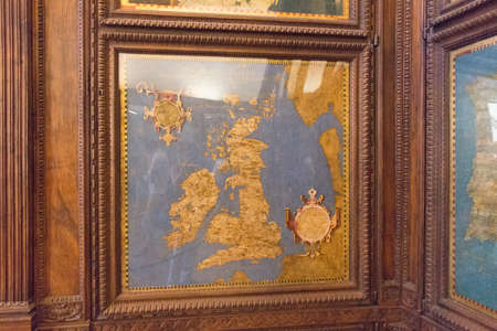 Italy, Florence - May 18 2017: the view of the cartography map in the Hall of geographical maps in Palazzo Vecchio on May 18 2017 in Florence, Italy. Editorial