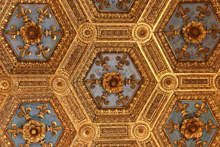 Italy, Florence - May 18 2017: the close up view of the renaissance carved ceiling in the Sala dei Gigli in the Palazzo Vecchio on May 18 2017 in Florence, Italy.