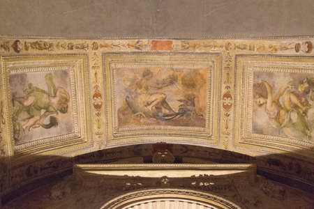 Italy, Florence - May 18 2017: the view of the ceiling fresco fragment in Palazzo Vecchio on May 18 2017 in Florence, Italy.