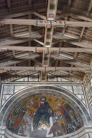 Italy, Florence - April 30 2017: the view of ceiling and mosaic inside Basilica San Miniato al Monte on April 30 2017, Tuscany, Italy. Redakční