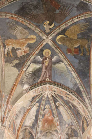 Italy, Verona - December 08 2017: the view of ceiling frescoes by Maestro del Redentore in the upper church San Fermo Maggiore on December 08 2017, Veneto, Italy.